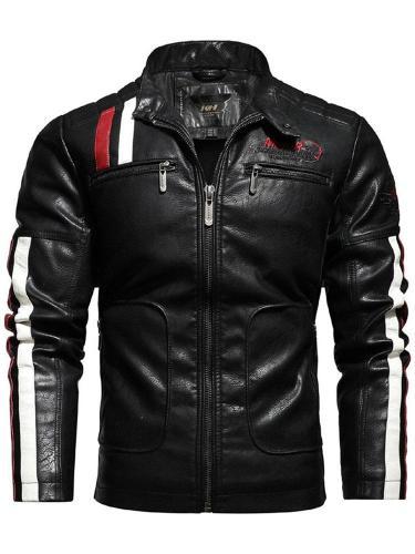 Standard Jacket Stand Collar Color Block Pocket Casual Leather Jacket