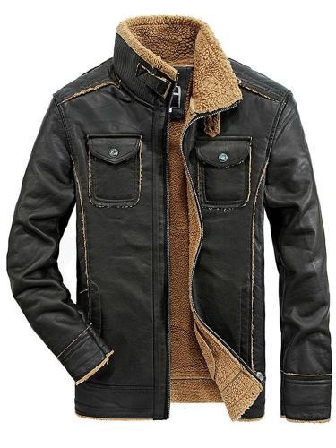 Standard  Jacket Plain Stand Collar Zipper Spring Leather Jacket