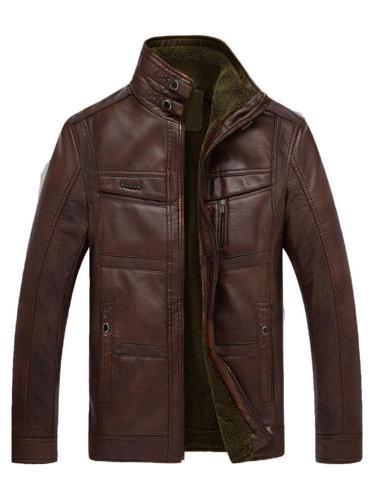 Standard Jacket Plain Stand Collar Winter Zipper Leather Jacket