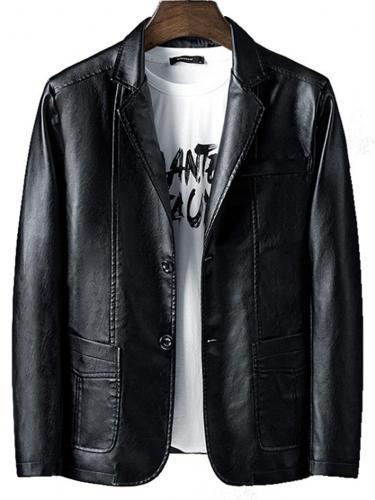 Men PU Leather Lapel Neck Blazer Men Cloth Men Jacket