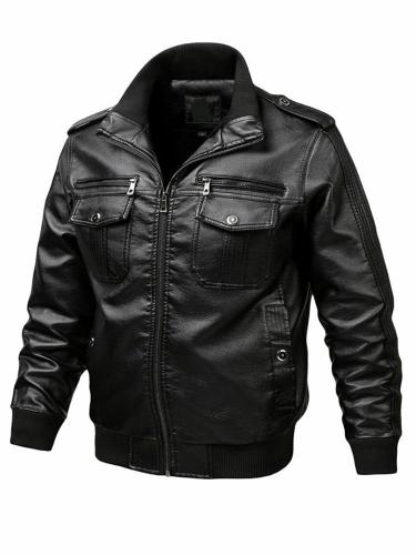 Stand Jacket Collar Standard Winter Slim Leather Jacket