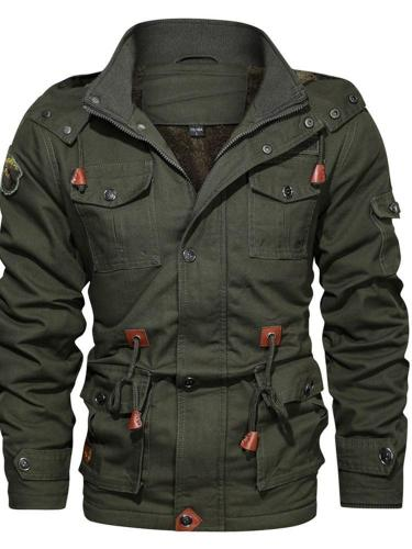 Color Block Hooded Zipper Winter Loose Jacket Man Jacket