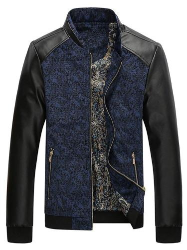 Stand Collar Print Color Block Zipper Spring Jacket Man Jacket