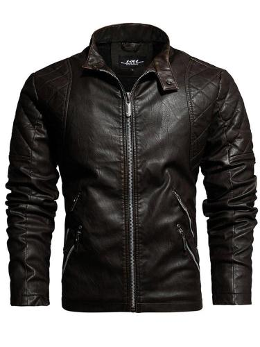 Stand Jacket Collar Plain Standard Zipper Fall Leather Jacket Man Jacket