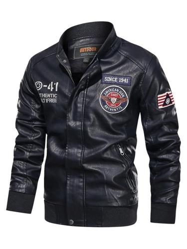 Standard Stand Collar Zipper Casual Leather Jacket