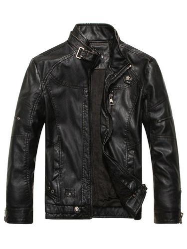 Standard Jacket Stand Collar Plain Slim Zipper Leather Jacket