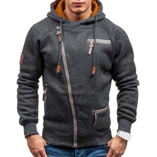 Men Casual Hooded Neck Long Sleeve Zipper Solid Pullover Hoodies