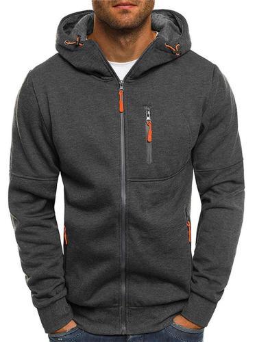 Men Pocket Zip Up Tops Warm Hooded Jackets Men's Casual Fitness Coat Men Cloth