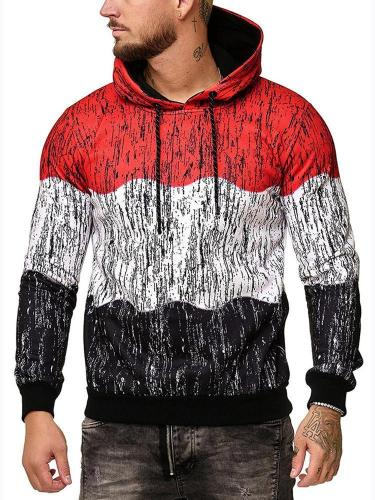 Men's Fashion Color Block Printing Pullover Hoodie Men Cloth