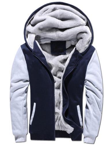 Men's Hooded Thicken Warm Faux Fur Lined Winter Hoodie Sweatshirt Jacket Men clothing