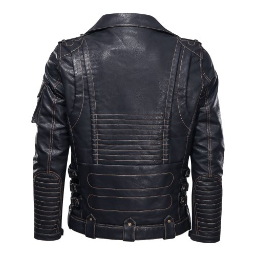Color Block Stand Collar Patchwork Slim Single-Breasted Jacket Zipper Jacket Motorcycle Jacket