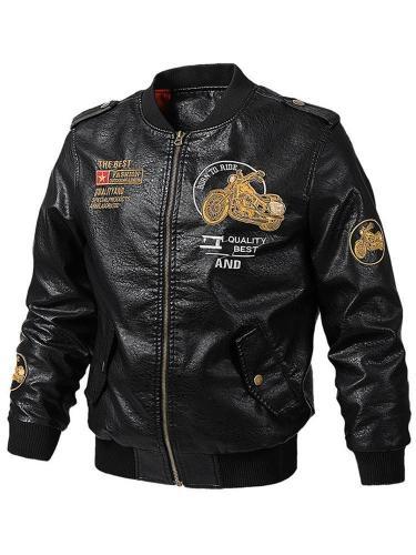 Standard Cloth Stand Collar Fall Zipper Leather Jacket Men Jacket