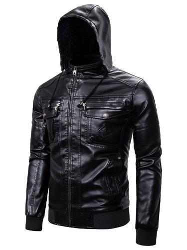 Hooded Jacket Plain Standard Slim Zipper Man Leather Jacket Motorcycle Jacket
