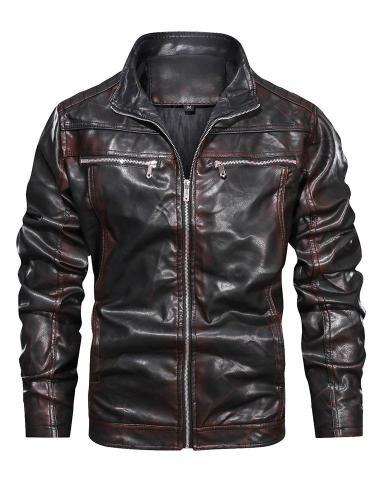 Zipper Stand Collar Color Block Zipper Slim Jacket Motorcycle Jacket