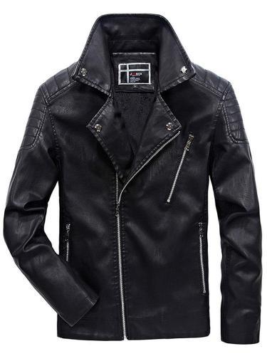 Standard Jacket Stand Collar Plain Zipper Slim Leather Jacket