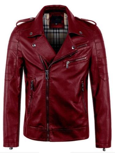 Standard Stand Collar Zipper Slim Leather Jacket Cloth