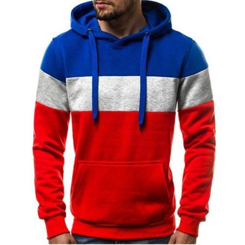Fleece Color Block Pocket Pullover Loose Men's Hoodies Cloth