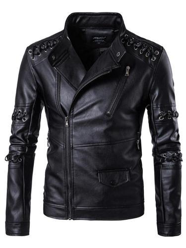 Plain Stand Collar Standard Zipper Casual Leather Jacket Man Jacket