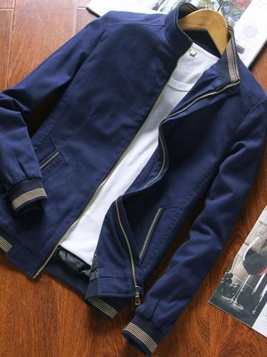 Stand Collar Plain Zipper Zipper Straight Jacket Man Jacket