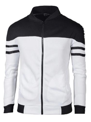 Men Autumn Winter Zip Sportswear Patchwork Jacket Long Sleeve Coat Men Cloth
