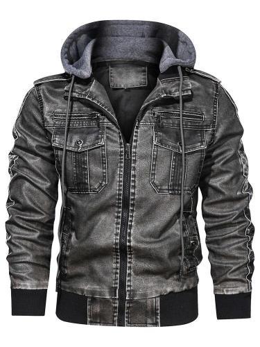 Patchwork Stand Collar Fall Zipper Jacket Man Jacket