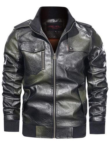 Color Block Stand Collar Standard Winter Pocket Leather Jacket Men Jacket