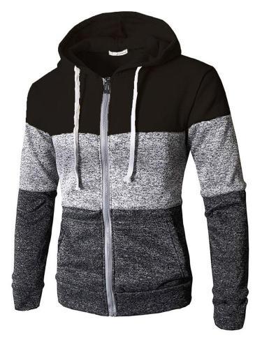 Hooded Sweatshirt Men Zip Jacket Splice Hooded Sweatshirt Hoodie Coat Pullover Jacket Men Cloth