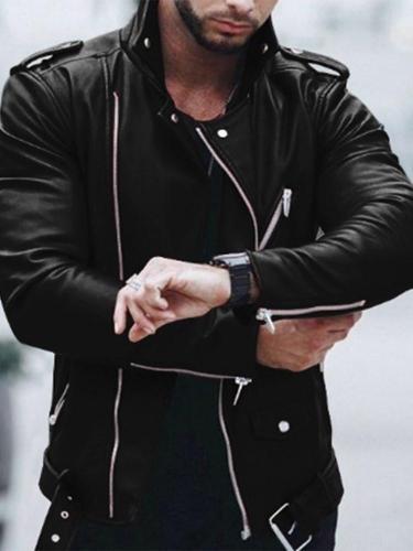 Stand Jacket Collar Standard Straight Leather Jacket Man Jacket