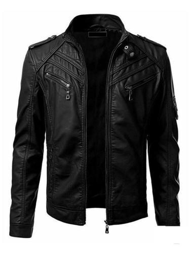 Standard Jacket Plain Stand Collar Slim Simple Leather Jacket Motorcycle Jacket