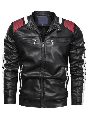 Stand Collar Color Block Standard Slim Winter Leather Jacket Man Jacket  Motorcycle Jacket
