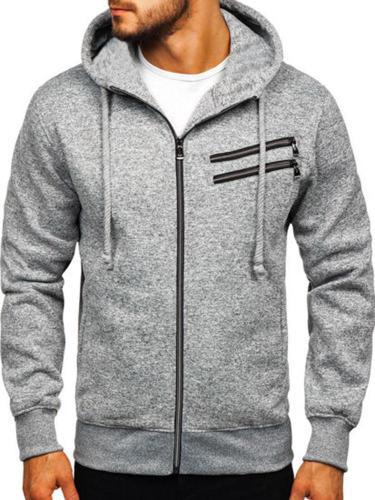 Men's Sweatshirt Hooded Plus Size  Long-Sleeved Zipper Utility Outdoor Jacket Tops Men Cloth