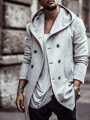 Thick Plain Lapel Winter Double-Breasted Jacket Men  Jacket