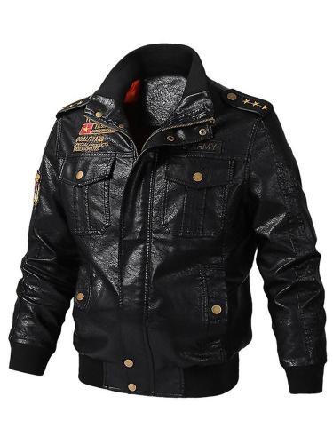 Men Jacke Standard Stand Collar Slim Patchwork Leather Jacket Men Cloth