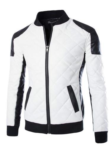 men jackets casual fashion plaid pu leather jacket male leather jacket black white tops Men Cloth
