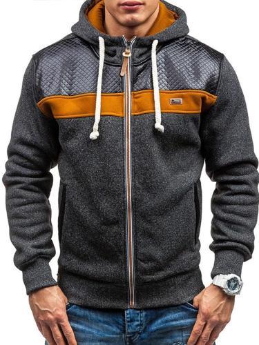 Patchwork Color Block Cardigan Zipper Fall Hoodies Men clothing