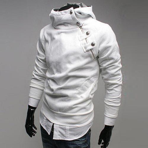 Fashion Jacket Men Button Zipper Hoodies Cool Turtle Neck Slim Fit Street Wear Casual  Sweatshirt