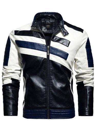 Standard Color Block Stand Collar Slim Zipper Leather Jacket Cloth
