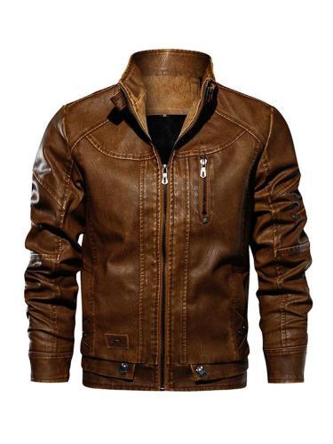 Stand Collar Plain Standard Zipper Slim Leather Jacket Men Cloth Jacket