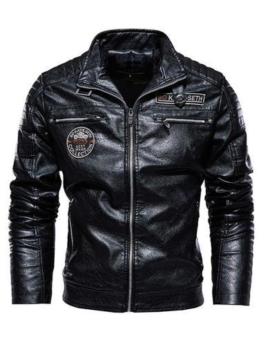 Standard  Jacket Stand Collar Fall Zipper Leather Jacket Men Jacket