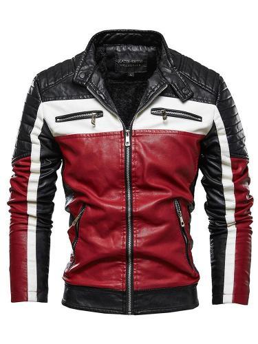 Stand Collar Standard Color Block Zipper Zipper Leather Jacket Cloth