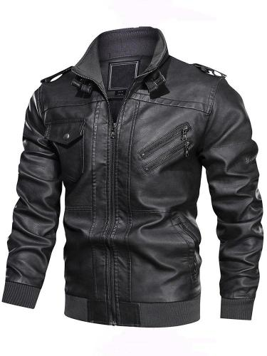 Stand Jacket Collar Standard Patchwork Fall Leather Jacket