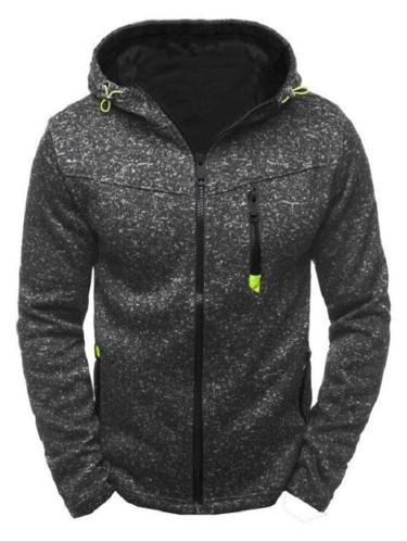 Men Winter Slim Hoodie Warm Hooded Sweatshirt Zipper Up Coat Jacket Outwear Tops
