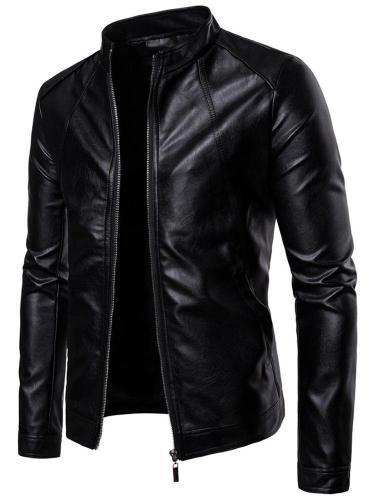 Standard Jacket Hooded Plain Zipper Slim Leather Jacket Motorcycle Jacket