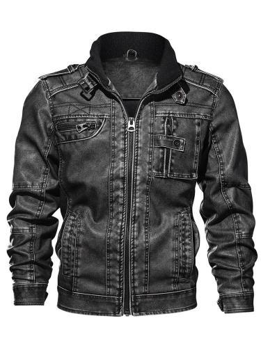 Standard Jacket Stand Collar Patchwork Zipper Leather Jacket