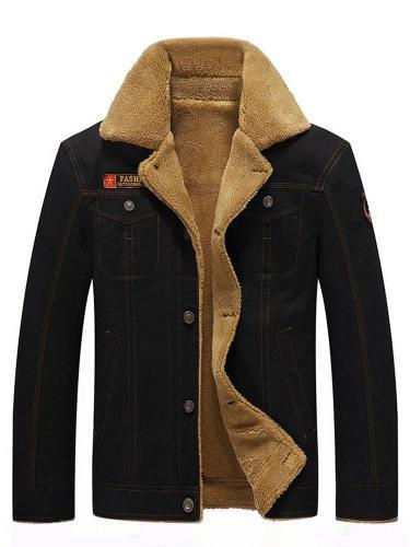 Men Jacket Embroidery Lapel Letter Single-Breasted Winter Jacket