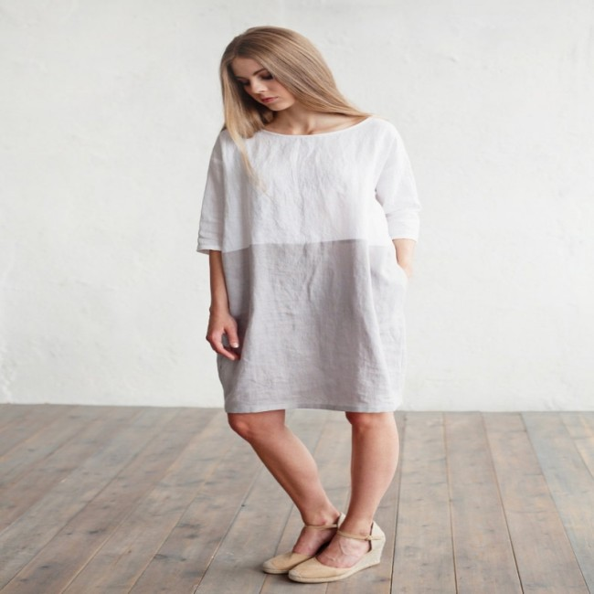 Women's dresses in white and grey