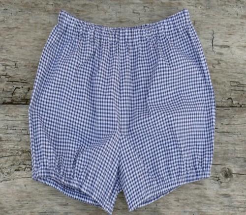 Blue and white check yoga shorts