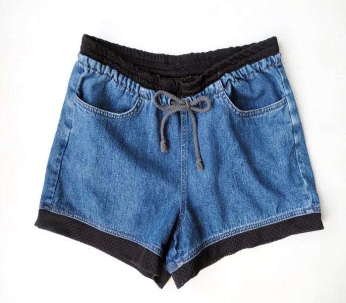Jean shorts with drawstring and pockets