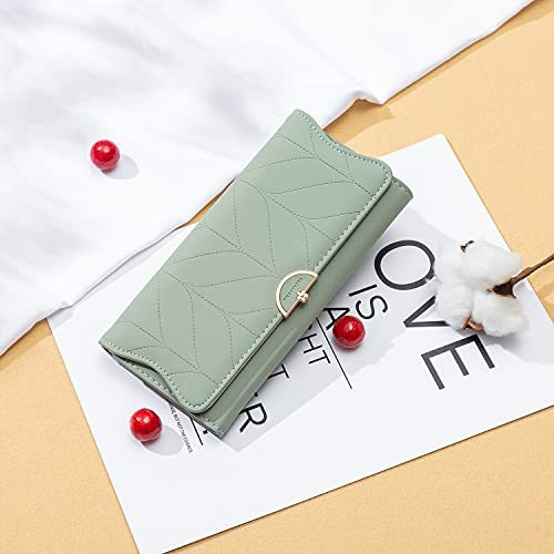 2021 Fashion Women Long Leather Wallet Clutch Zipper Pockets Card Large Capacity RFID Blocking Holder Organizer Bifold Trifold Wallets (Style B - Black)