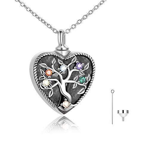 Cremation Jewelry Urn Necklace for Ashes Memorial 925 Sterling Silver Ashes Keepsake Urns Pendant Necklace for Urn Necklaces Ashes Jewelry Gifts Urn Pendant Necklace Cremation Ashe Keepsake Hair Memorial Jewelry (Heart-Tree of Life Urn)